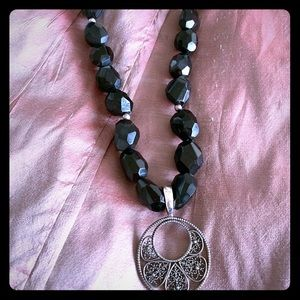 Jewelry - Antique sterling silver and onyx necklace